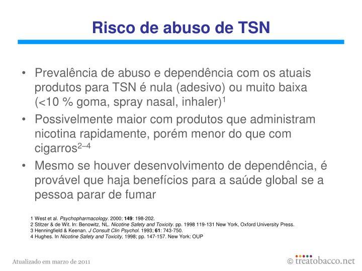 Risco de abuso de TSN