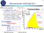 measurements with high et e1