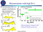 measurements with high et e2