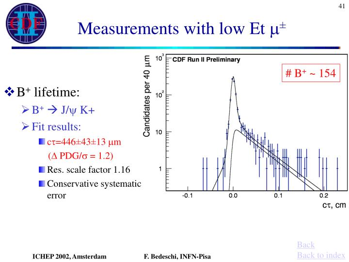 Measurements with low Et