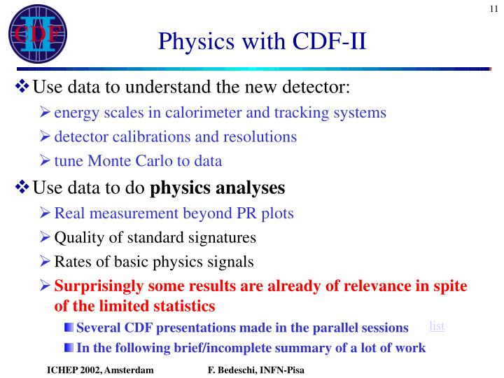 Physics with CDF-II