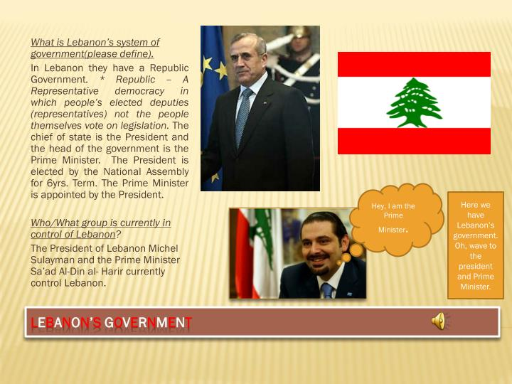 What is Lebanon's system of government(please define).