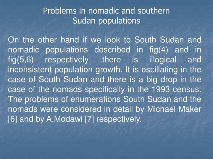 Problems in nomadic and southern Sudan populations