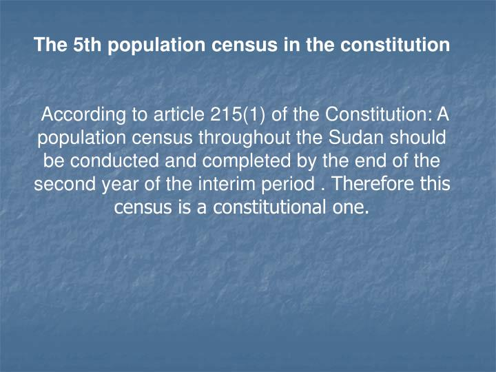 The 5th population census in the constitution