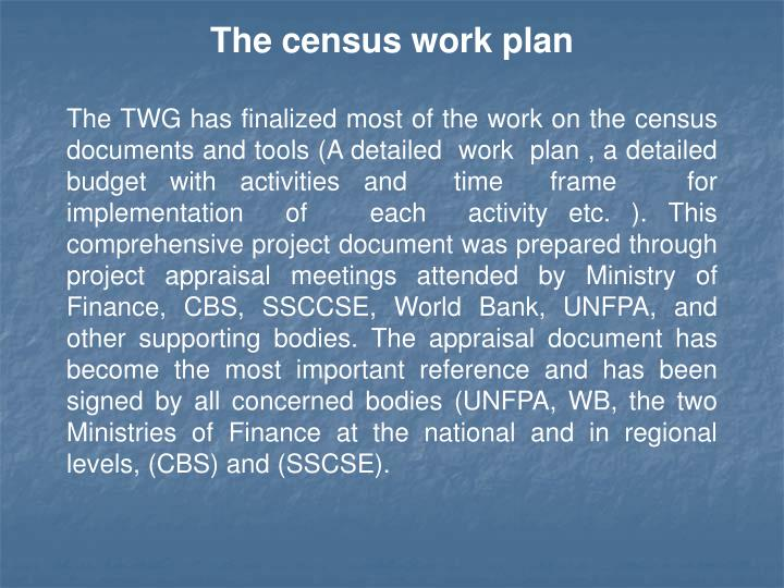 The census work plan