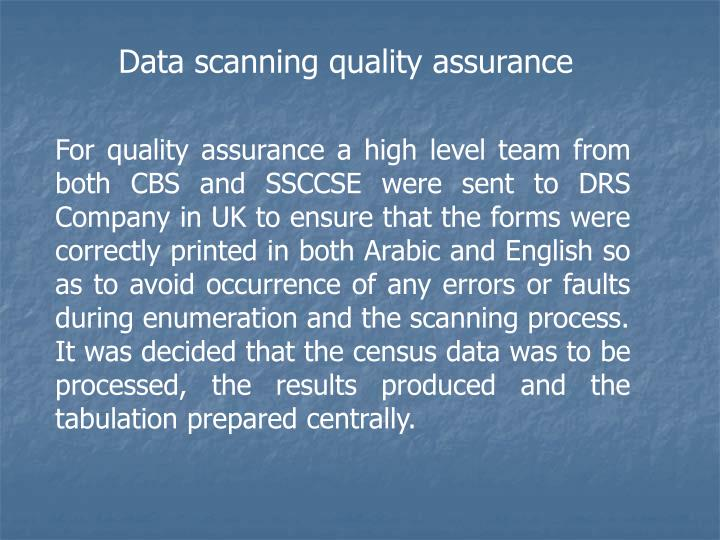 Data scanning quality assurance