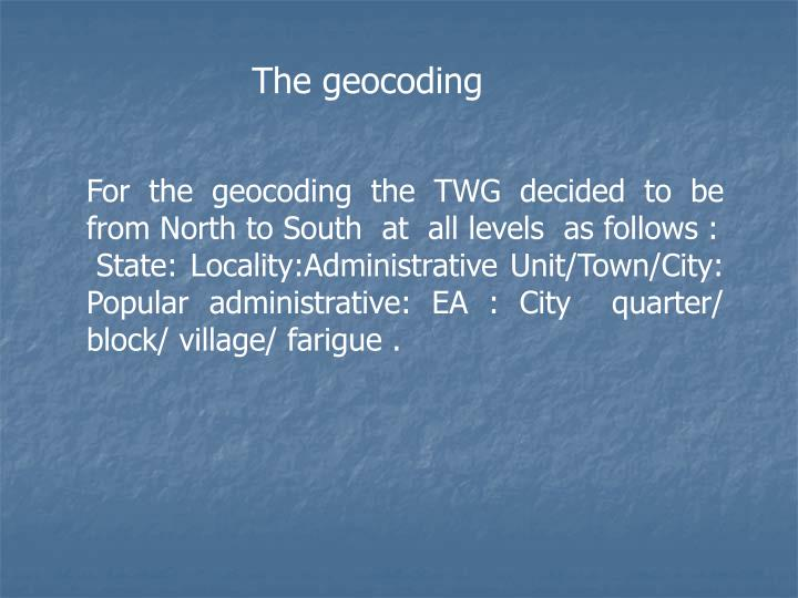 The geocoding