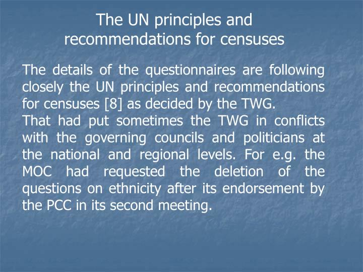 The UN principles and recommendations for censuses