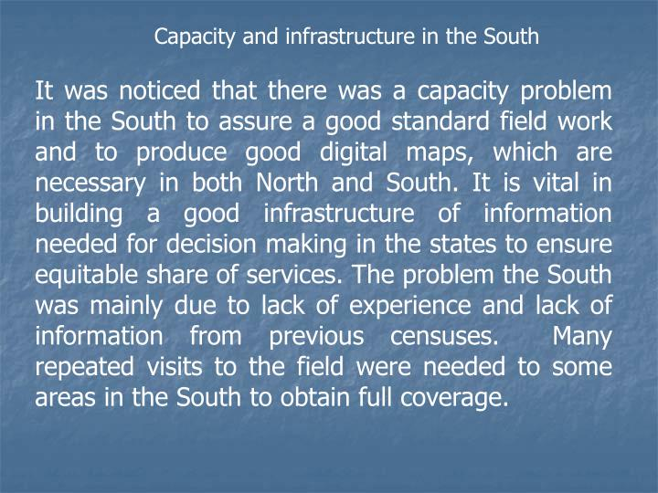 Capacity and infrastructure in the South
