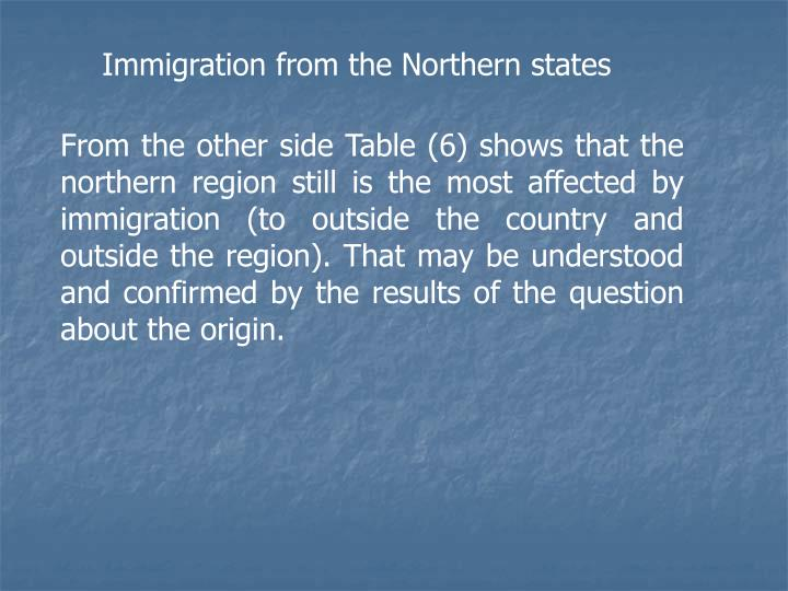 Immigration from the Northern states