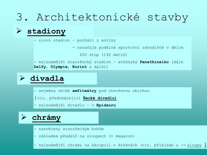 3. Architektonické stavby