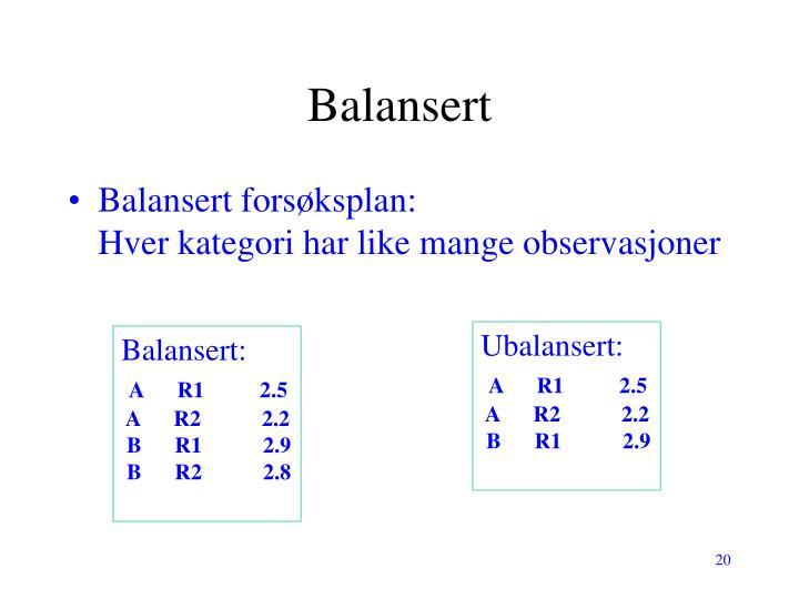 Balansert