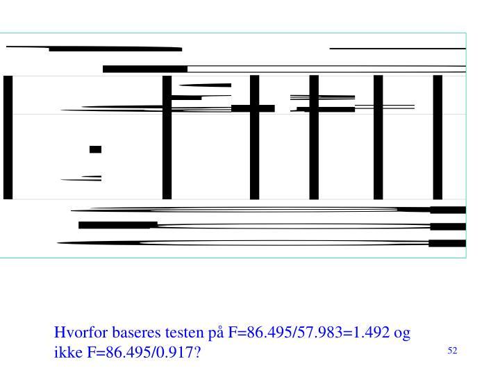 Hvorfor baseres testen på F=86.495/57.983=1.492 og