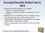 essential benefits rolled out in 2014