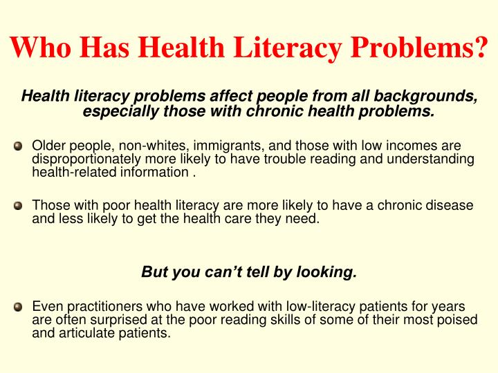 Who Has Health Literacy Problems?
