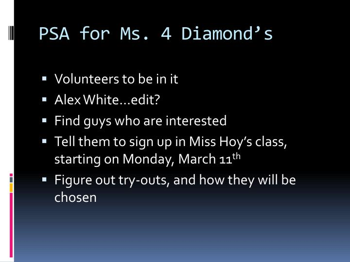 PSA for Ms. 4 Diamond's