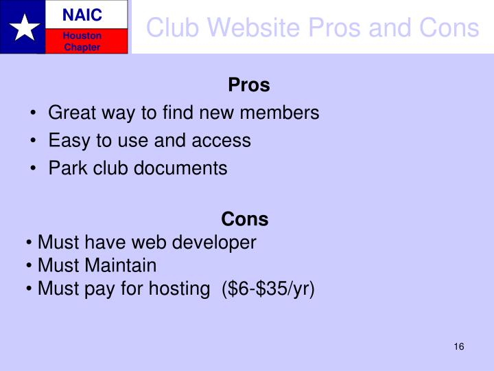 Club Website Pros and Cons