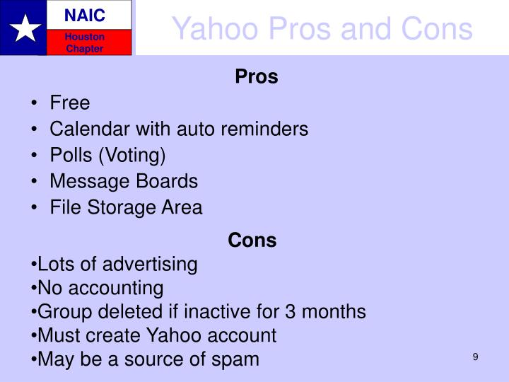 Yahoo Pros and Cons