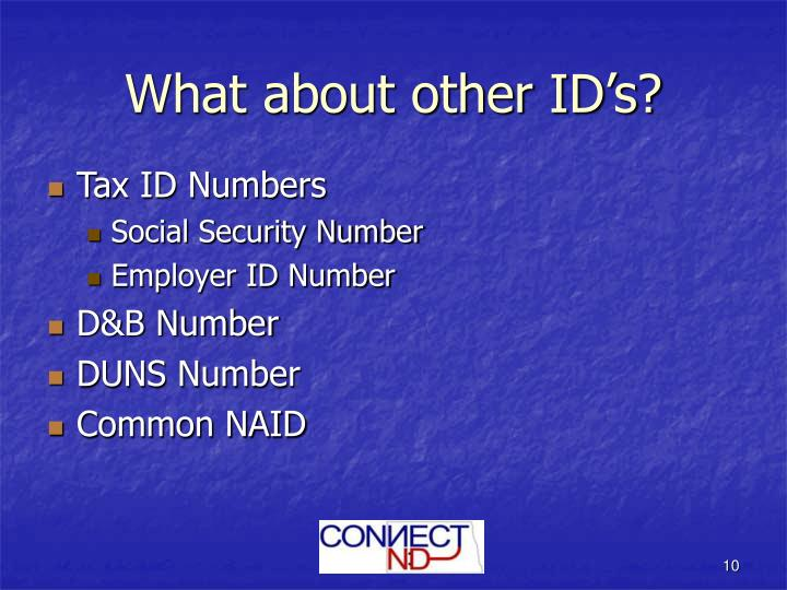 What about other ID's?