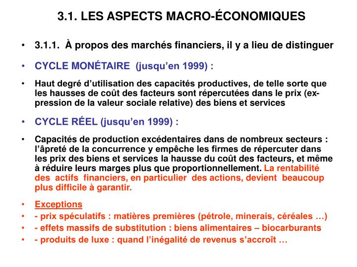 3.1. LES ASPECTS MACRO-