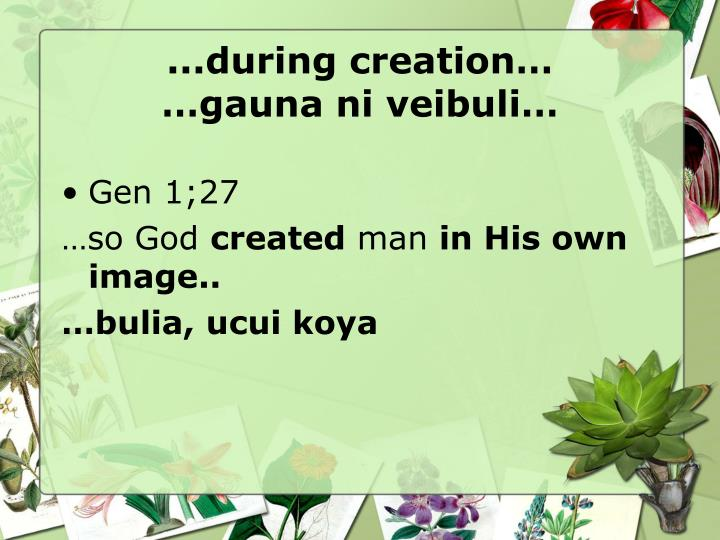 ...during creation…