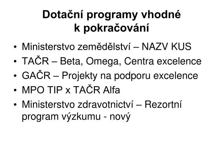 Dotační programy vhodné