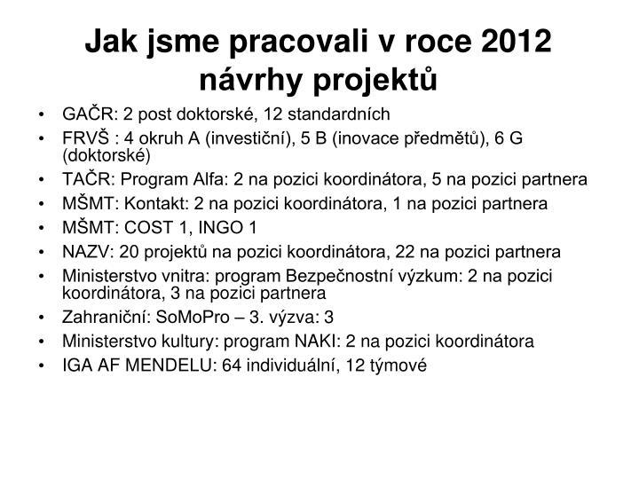 Jak jsme pracovali v roce 2012