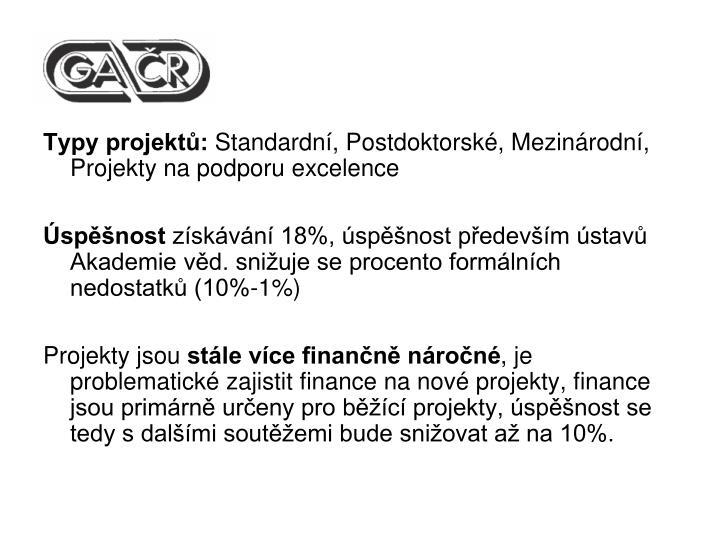 Typy projektů: