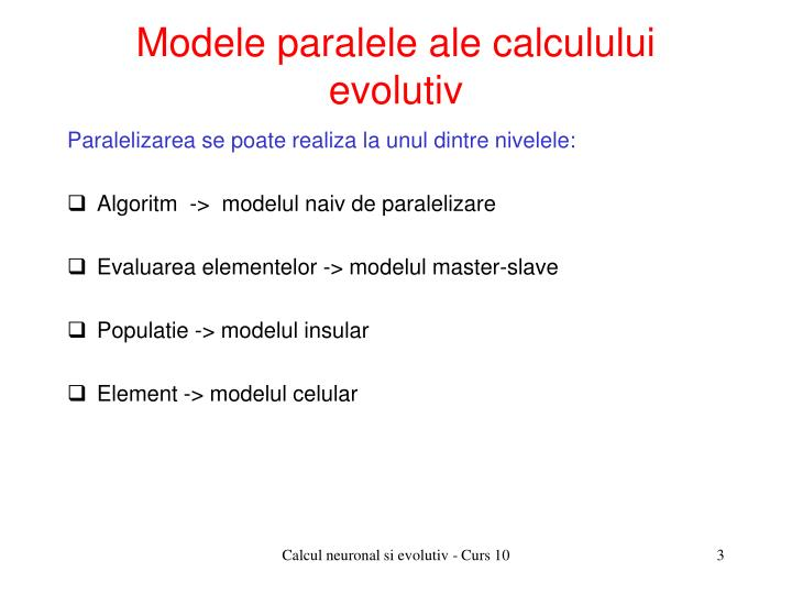 Modele paralele ale calculului evolutiv