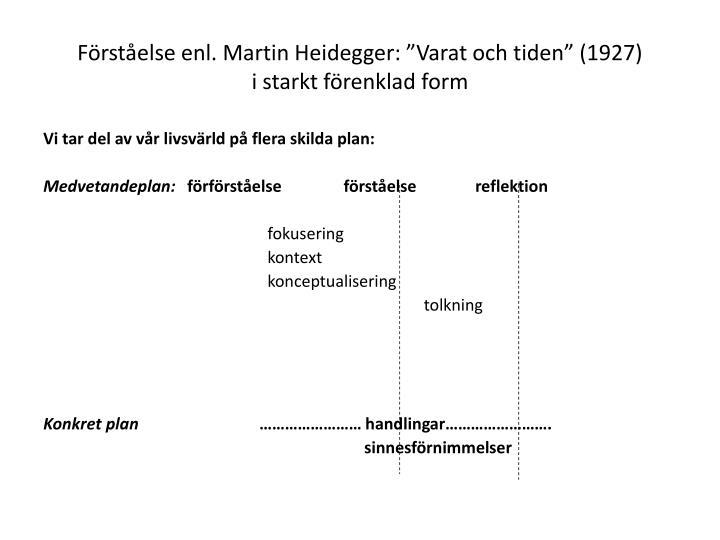 """Förståelse enl. Martin Heidegger: """"Varat och tiden"""" (1927)"""