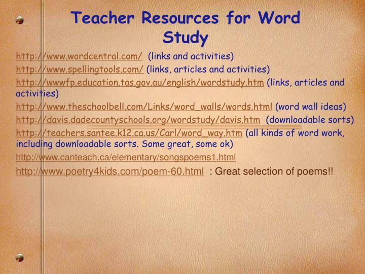 Teacher Resources for Word Study