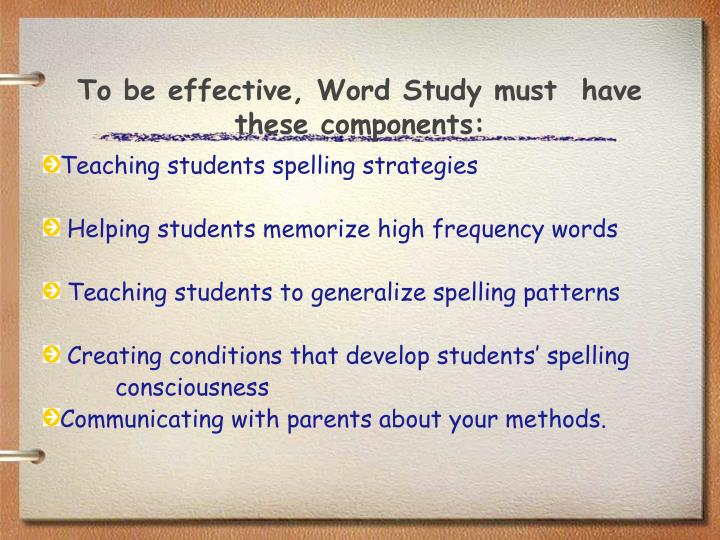 To be effective, Word Study must  have these components:
