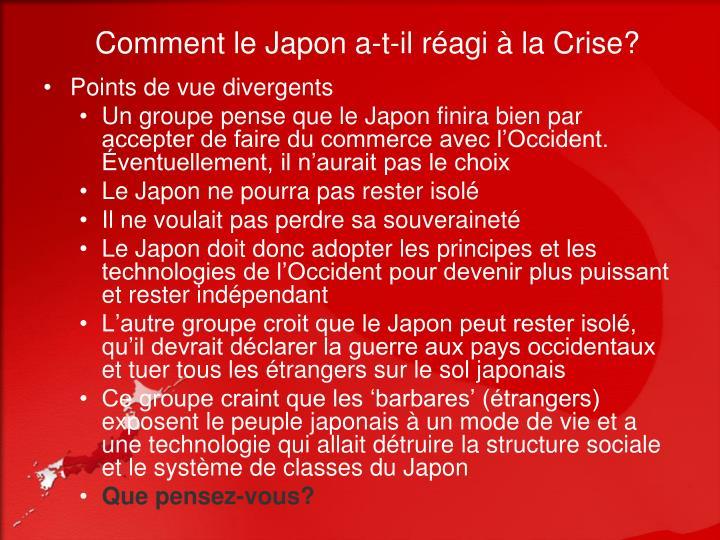 Comment le Japon a-t-il réagi à la Crise?