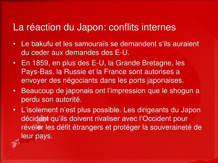 La réaction du Japon: conflits internes