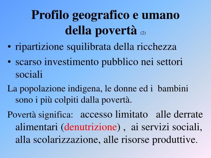 Profilo geografico e umano della povertà