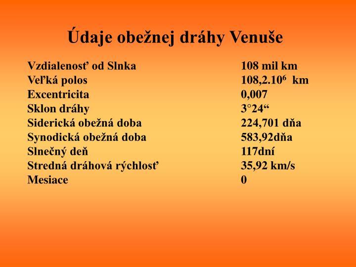Údaje obežnej dráhy Venuše