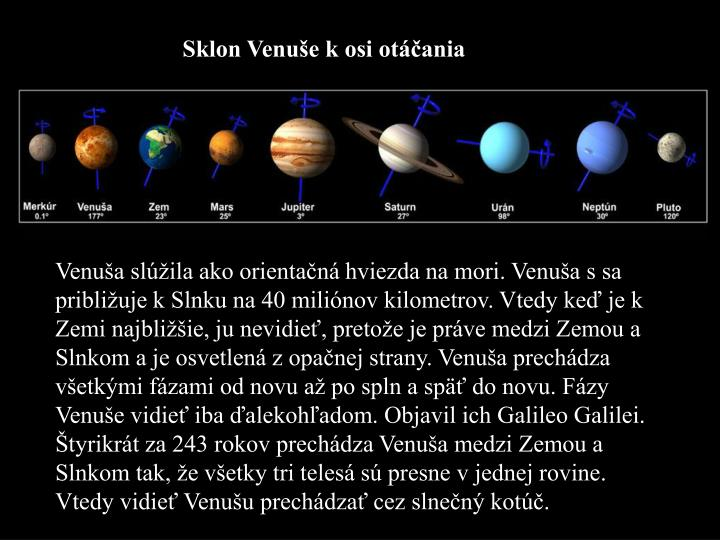 Sklon Venuše k osi otáčania