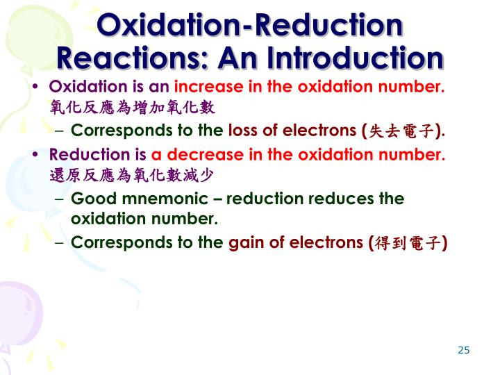 Oxidation-Reduction Reactions: An Introduction