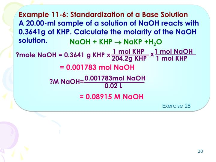 Example 11-6: Standardization of a Base Solution