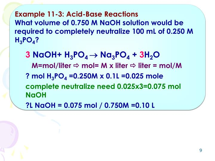 Example 11-3: Acid-Base Reactions