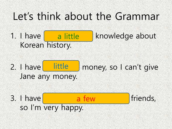 Let's think about the Grammar