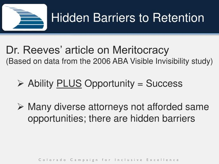 Hidden Barriers to Retention
