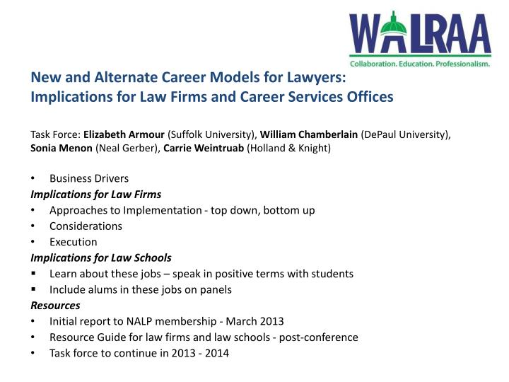 New and Alternate Career Models for Lawyers: