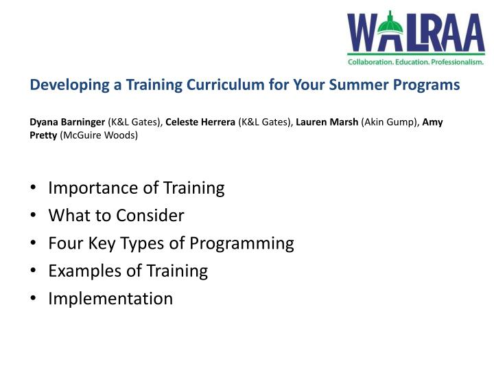 Developing a Training Curriculum for Your Summer Programs