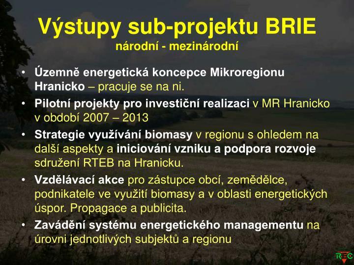 Výstupy sub-projektu BRIE