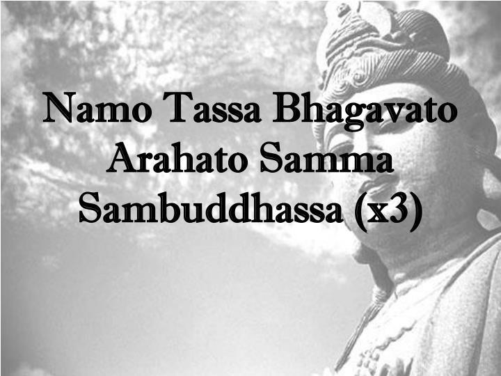Namo Tassa Bhagavato Arahato Samma Sambuddhassa (x3)