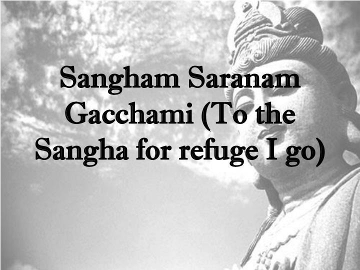 Sangham Saranam Gacchami (To the Sangha for refuge I go)
