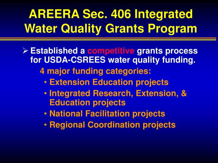 AREERA Sec. 406 Integrated Water Quality Grants Program