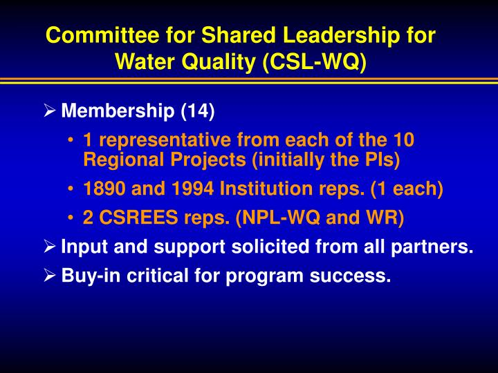 Committee for Shared Leadership for Water Quality (CSL-WQ)