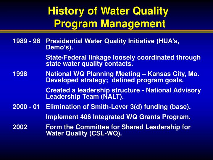 History of water quality program management